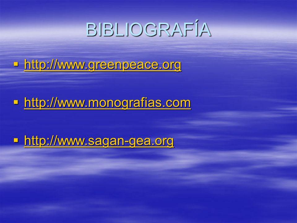BIBLIOGRAFÍA http://www.greenpeace.org http://www.monografias.com