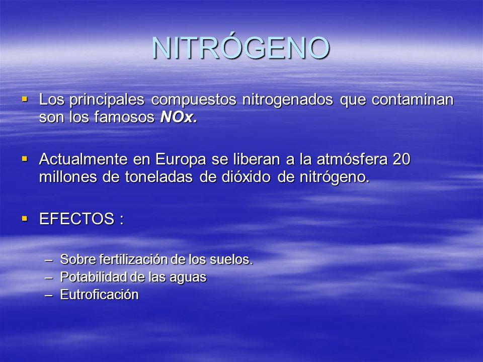 NITRÓGENO Los principales compuestos nitrogenados que contaminan son los famosos NOx.