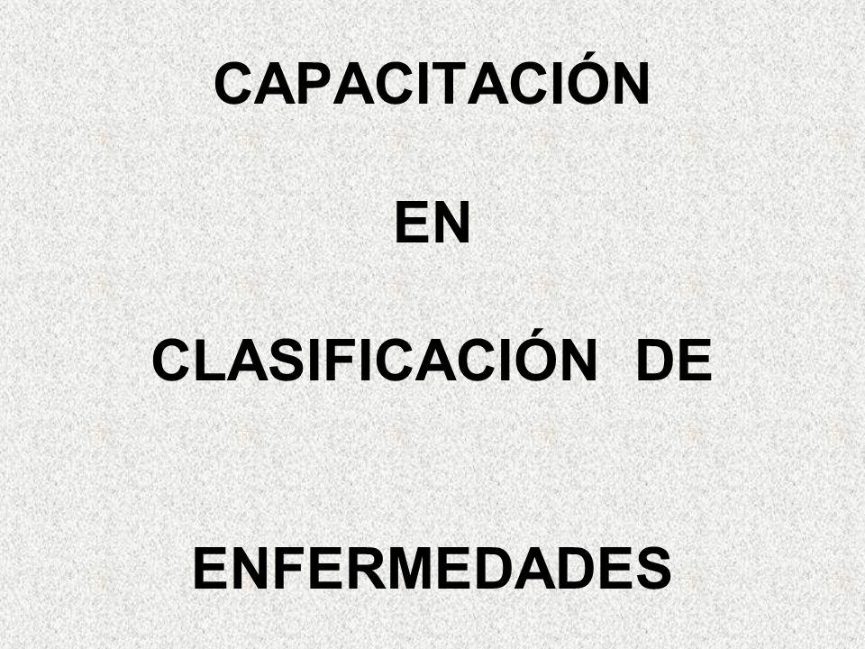 CAPACITACIÓN EN CLASIFICACIÓN DE ENFERMEDADES