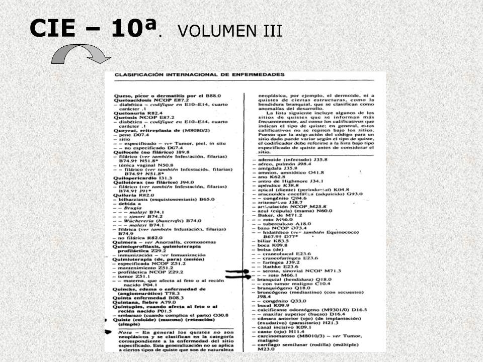 CIE – 10ª. VOLUMEN III Sistema de Indentación: