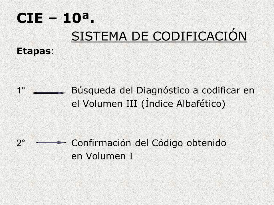 CIE – 10ª. SISTEMA DE CODIFICACIÓN Etapas:
