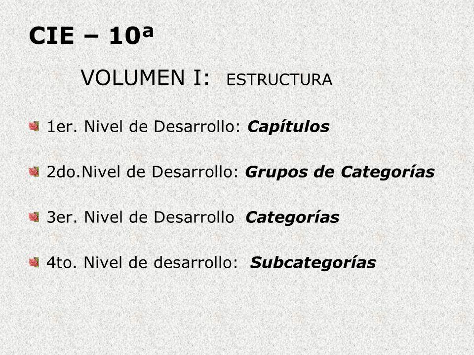 CIE – 10ª VOLUMEN I: ESTRUCTURA 1er. Nivel de Desarrollo: Capítulos