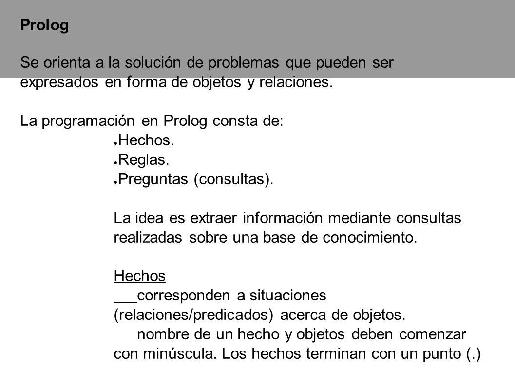 Prolog Se orienta a la solución de problemas que pueden ser expresados en forma de objetos y relaciones.