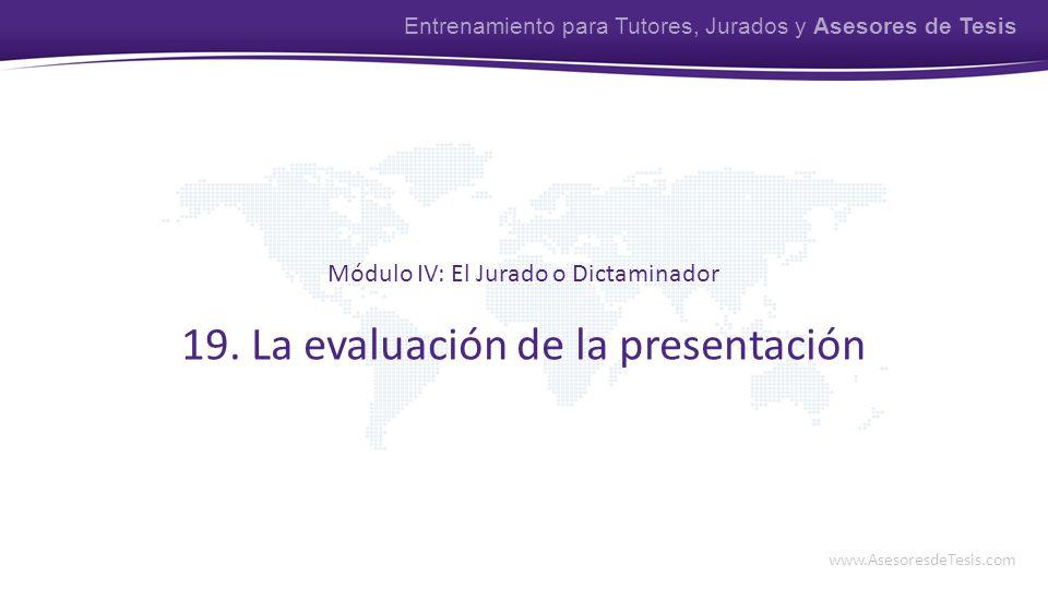 19. La evaluación de la presentación