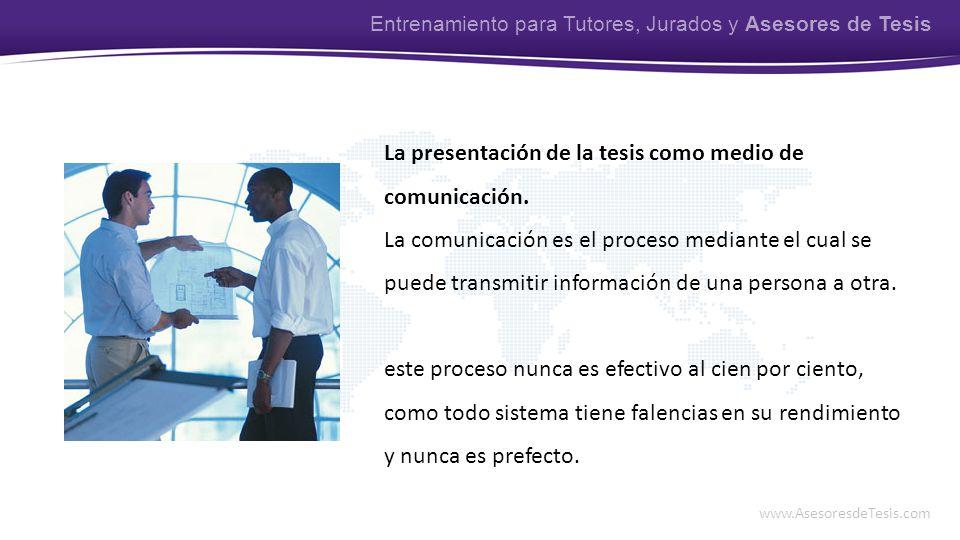 La presentación de la tesis como medio de comunicación.