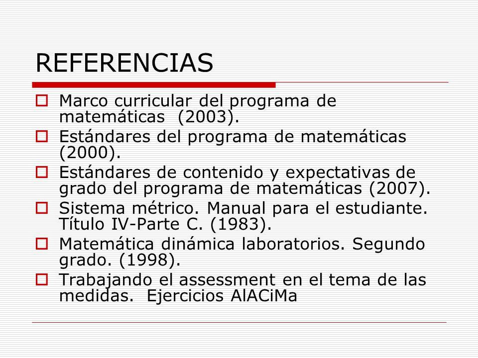 REFERENCIAS Marco curricular del programa de matemáticas (2003).