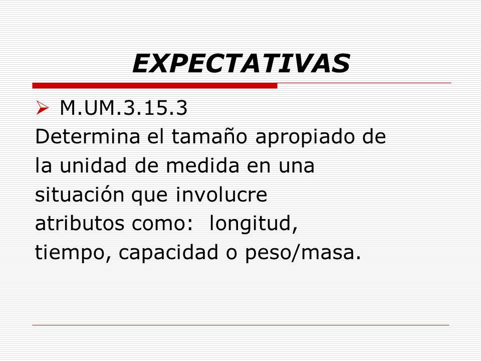EXPECTATIVAS M.UM.3.15.3 Determina el tamaño apropiado de