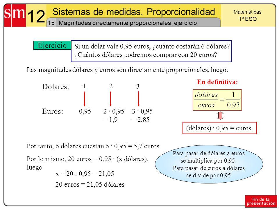 12 Sistemas de medidas. Proporcionalidad Ejercicio Dólares: Euros: