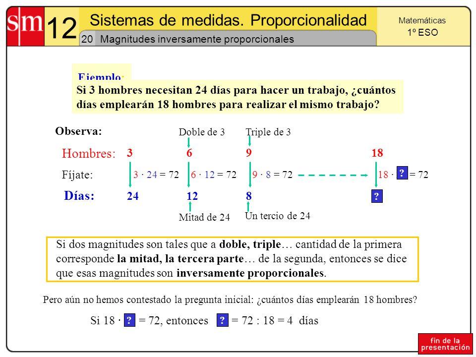 Sistemas de medidas. Proporcionalidad