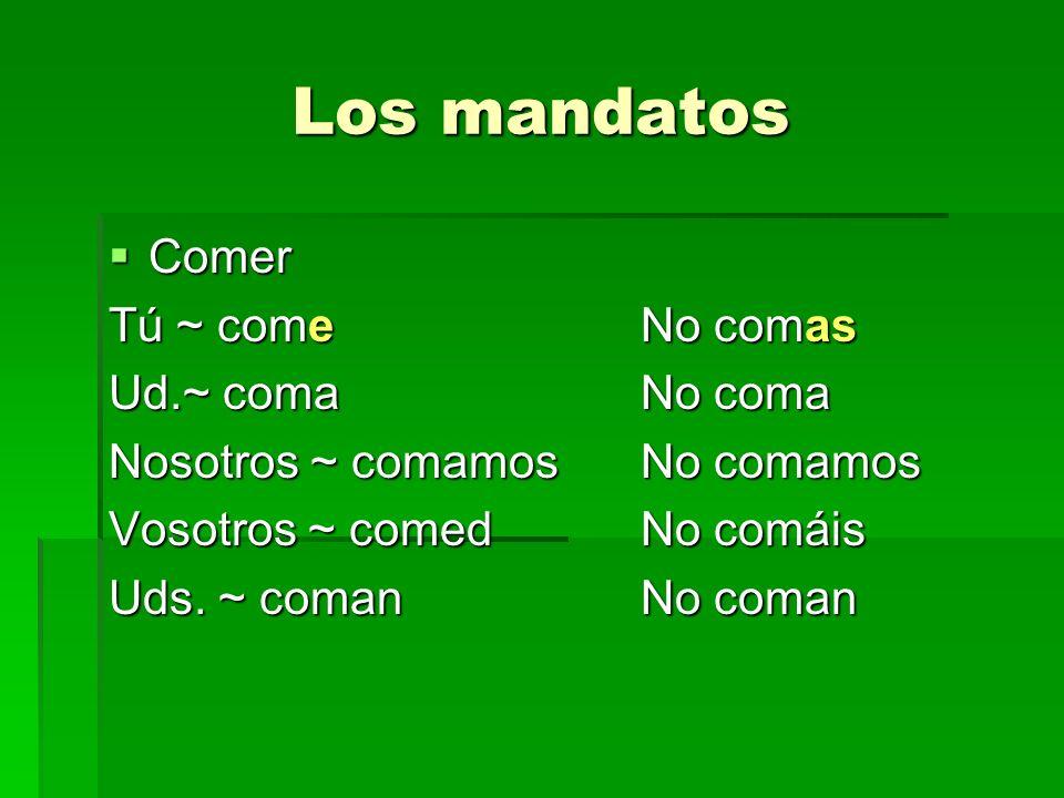Los mandatos Comer Tú ~ come No comas Ud.~ coma No coma