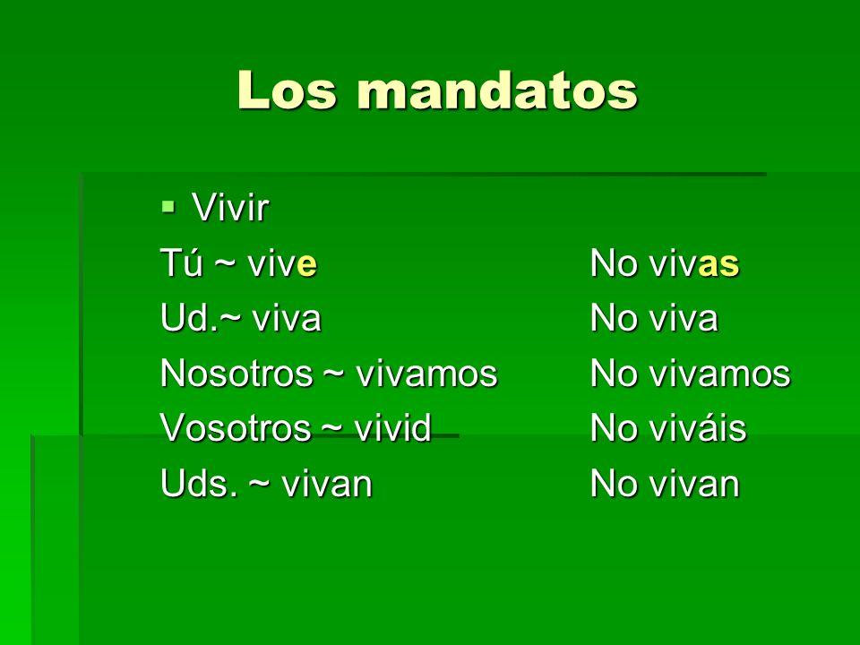 Los mandatos Vivir Tú ~ vive No vivas Ud.~ viva No viva