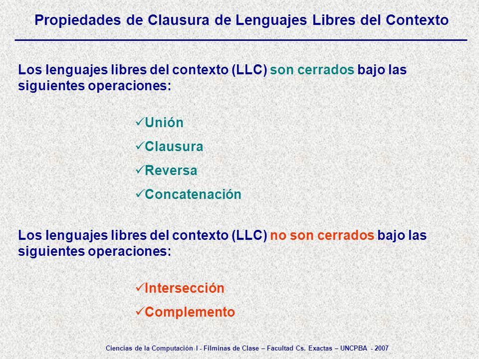 Propiedades de Clausura de Lenguajes Libres del Contexto