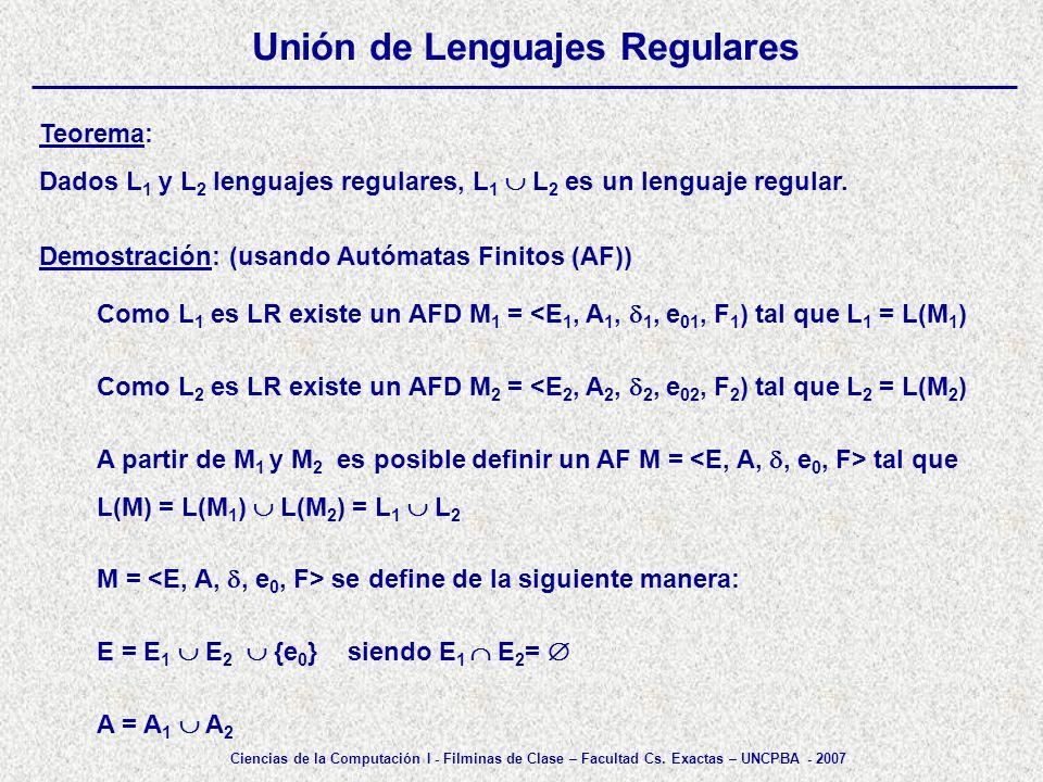 Unión de Lenguajes Regulares