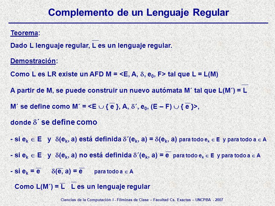 Complemento de un Lenguaje Regular