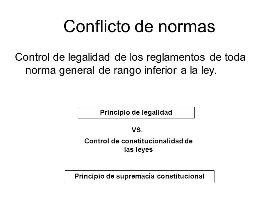 Conflicto de normas Control de legalidad de los reglamentos de toda norma general de rango inferior a la ley.