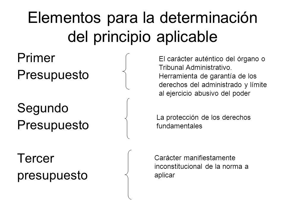 Elementos para la determinación del principio aplicable
