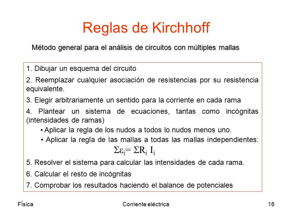 Reglas de Kirchhoff Método general para el análisis de circuitos con múltiples mallas. 1. Dibujar un esquema del circuito.