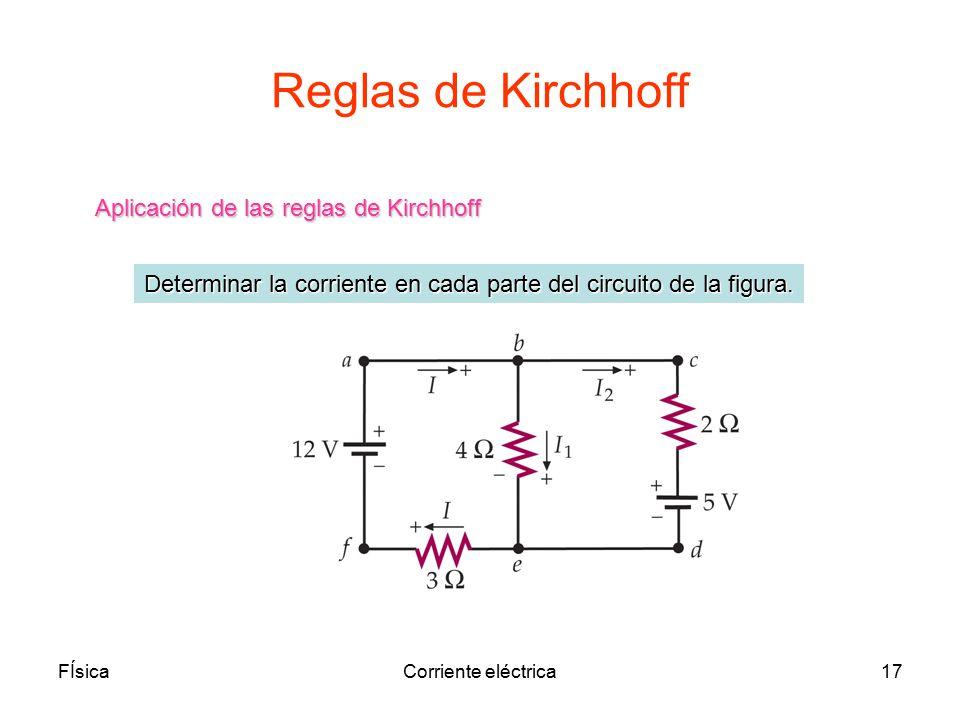 Reglas de Kirchhoff Aplicación de las reglas de Kirchhoff