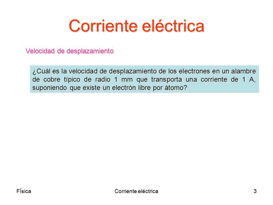 Corriente eléctrica Velocidad de desplazamiento