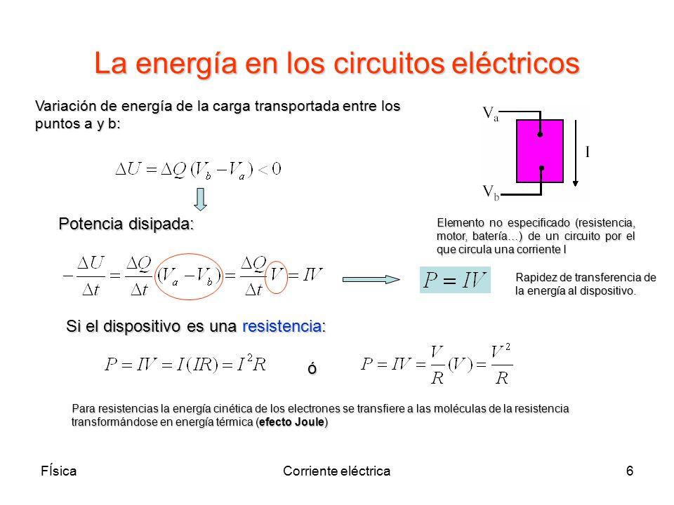 La energía en los circuitos eléctricos