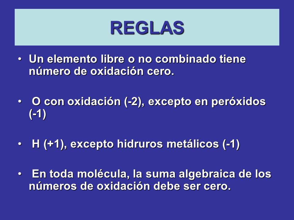 REGLAS Un elemento libre o no combinado tiene número de oxidación cero. O con oxidación (-2), excepto en peróxidos (-1)