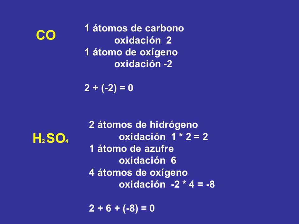 H2 SO4 1 átomos de carbono oxidación 2 1 átomo de oxígeno oxidación -2