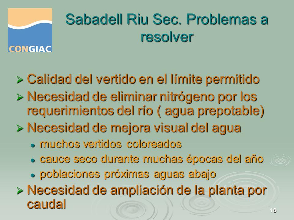 Sabadell Riu Sec. Problemas a resolver