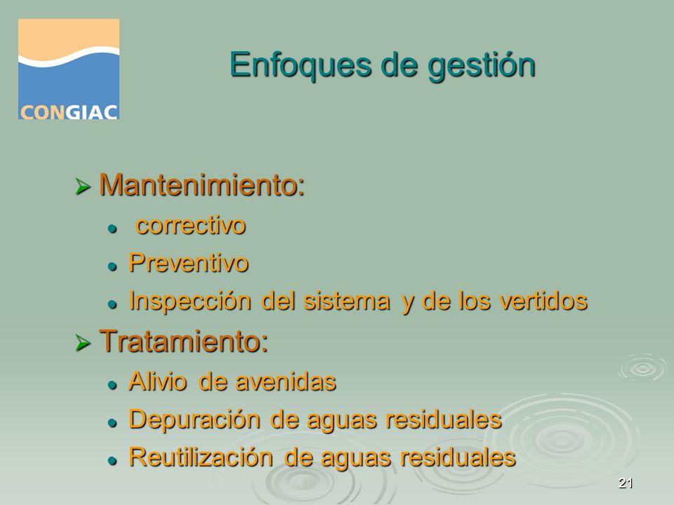 Enfoques de gestión Mantenimiento: Tratamiento: correctivo Preventivo