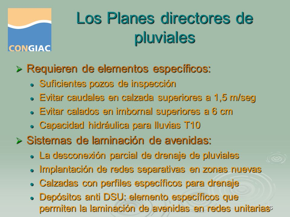 Los Planes directores de pluviales