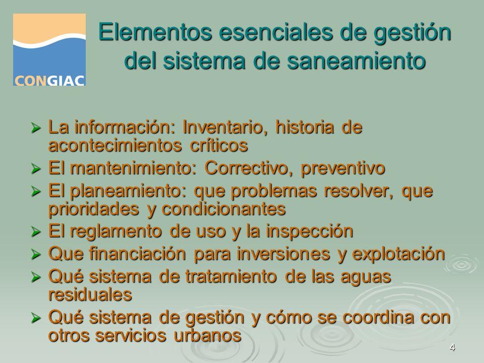 Elementos esenciales de gestión del sistema de saneamiento