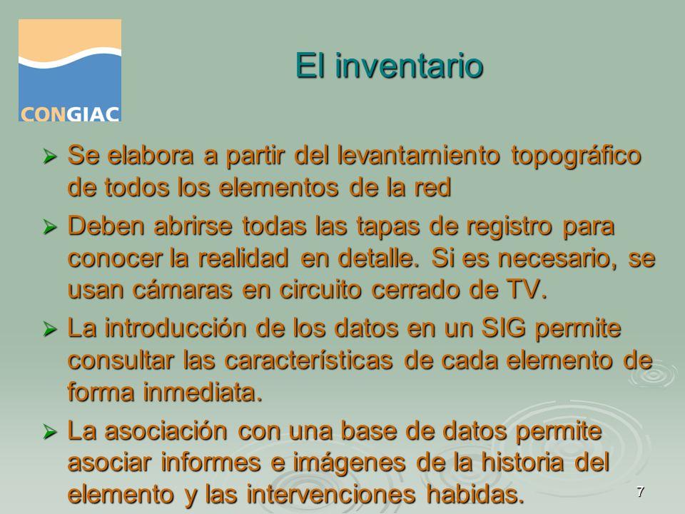 El inventario Se elabora a partir del levantamiento topográfico de todos los elementos de la red.