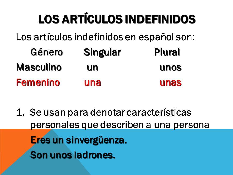 Los artículos indefinidos