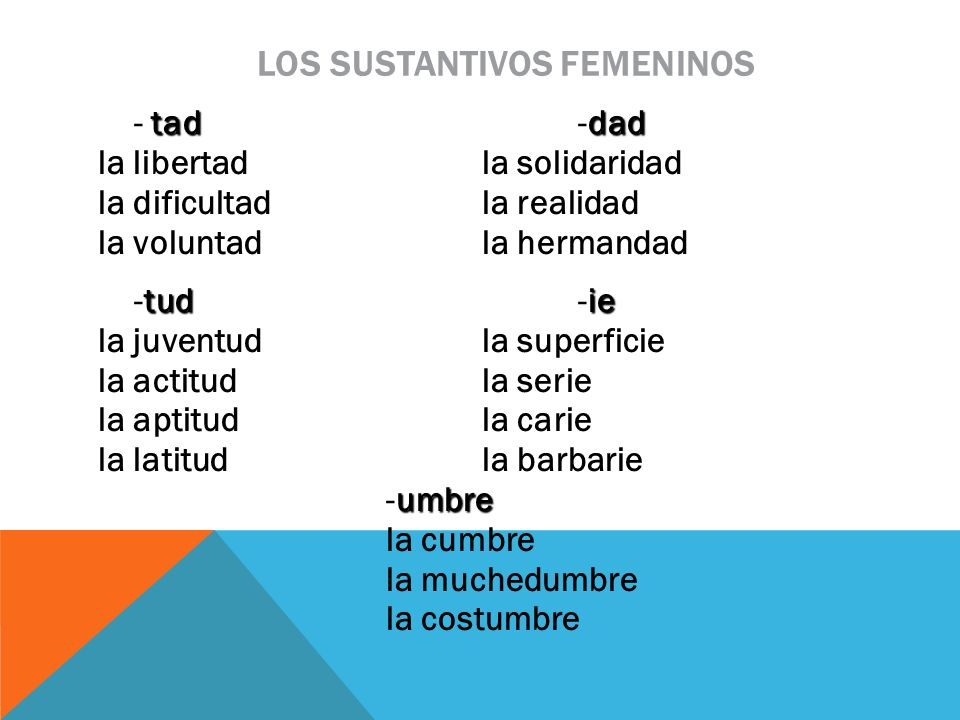 los sustantivos femeninos