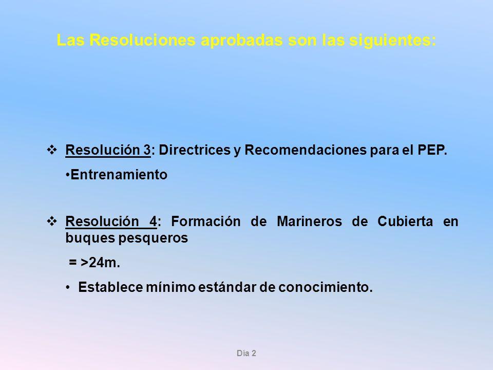 Las Resoluciones aprobadas son las siguientes:
