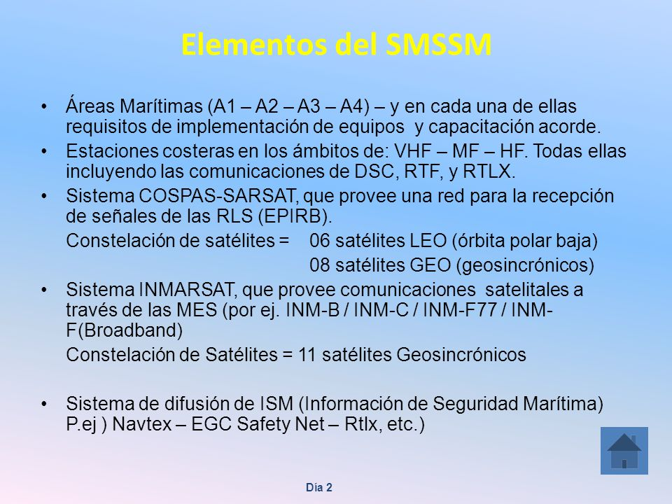 Elementos del SMSSM Áreas Marítimas (A1 – A2 – A3 – A4) – y en cada una de ellas requisitos de implementación de equipos y capacitación acorde.