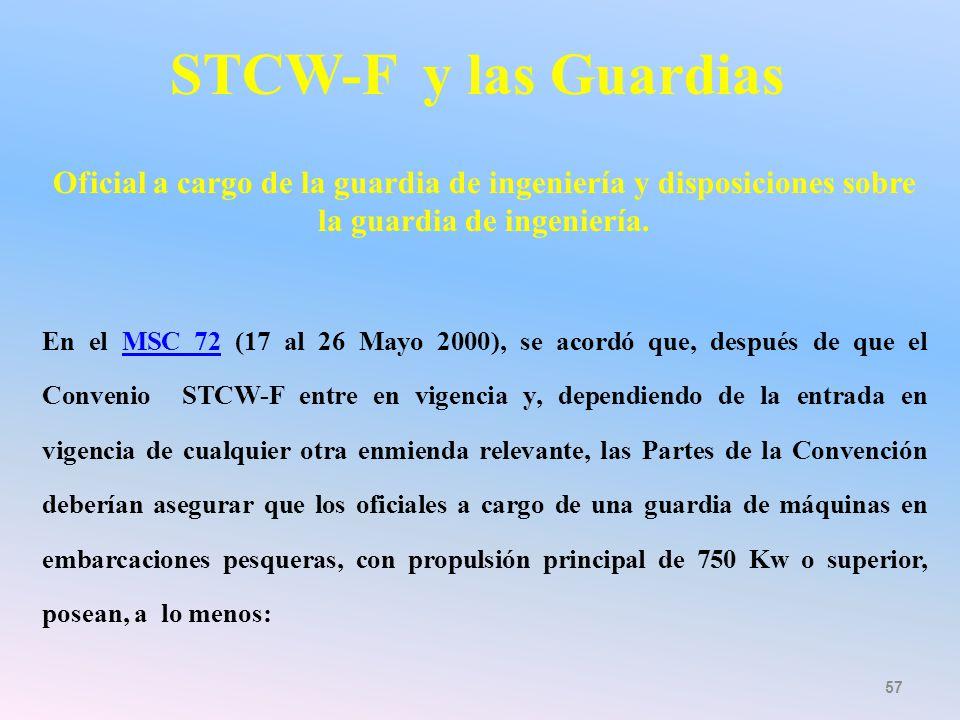 STCW-F y las Guardias Oficial a cargo de la guardia de ingeniería y disposiciones sobre la guardia de ingeniería.