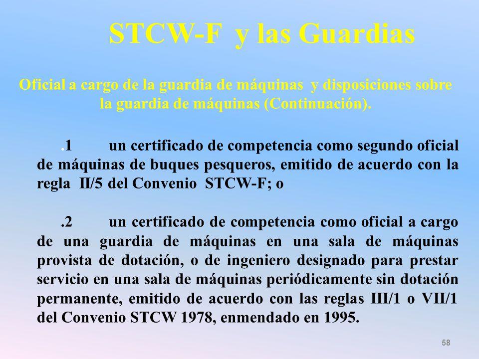 STCW-F y las Guardias Oficial a cargo de la guardia de máquinas y disposiciones sobre la guardia de máquinas (Continuación).