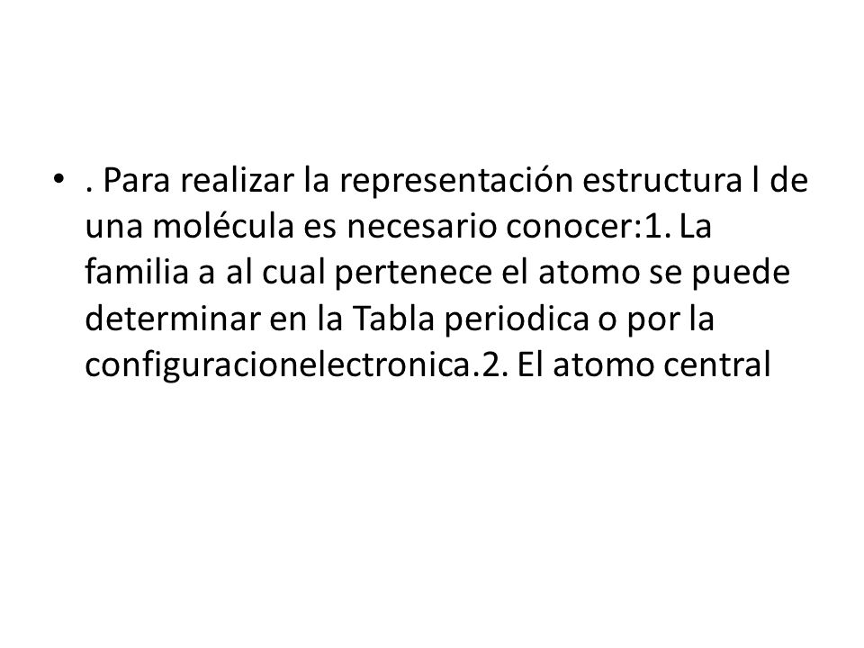 Para realizar la representación estructura l de una molécula es necesario conocer:1.