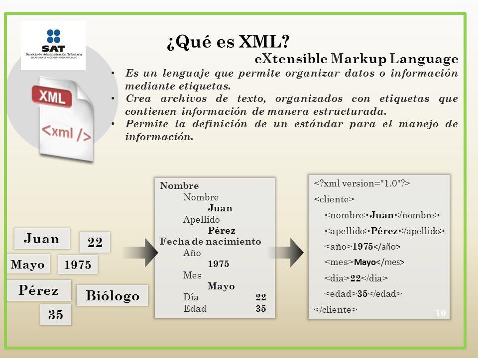 ¿Qué es XML eXtensible Markup Language Juan 22 Pérez Biólogo 35 Mayo