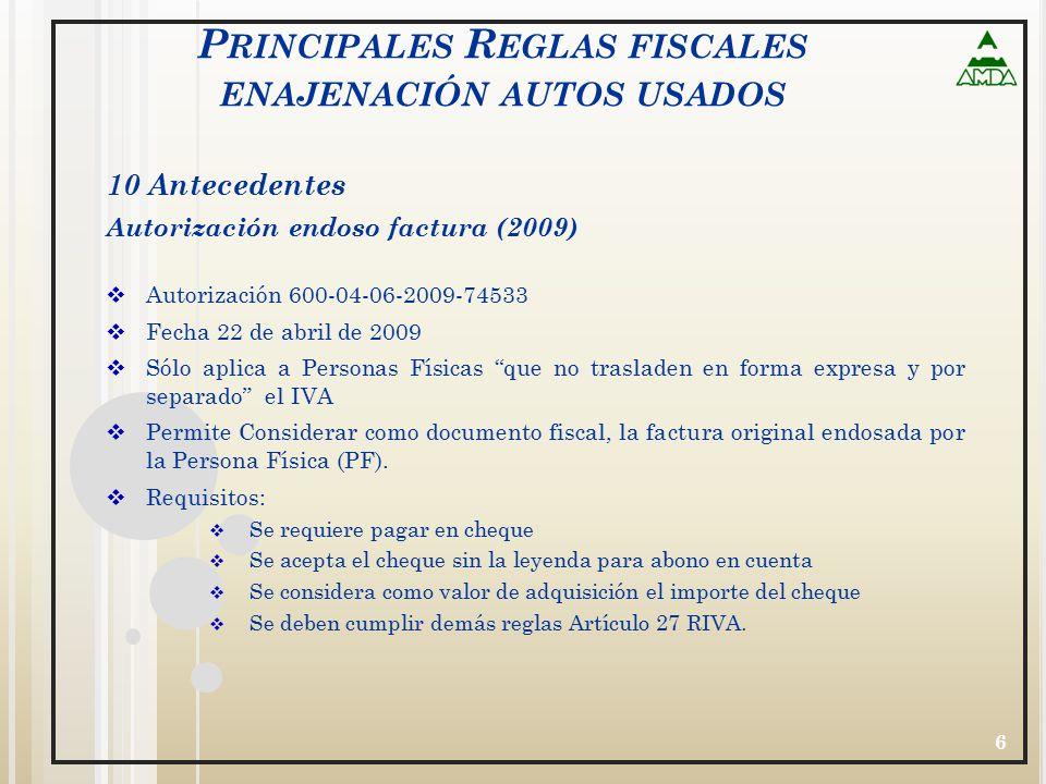 Principales Reglas fiscales enajenación autos usados