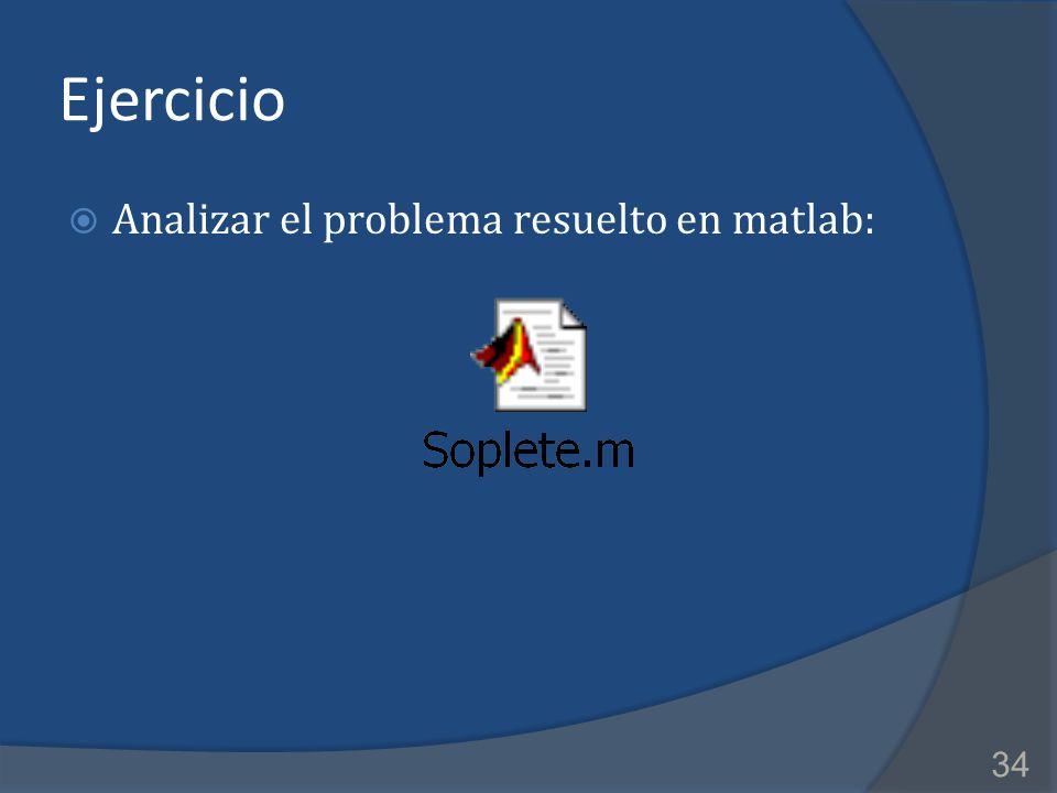 Ejercicio Analizar el problema resuelto en matlab: