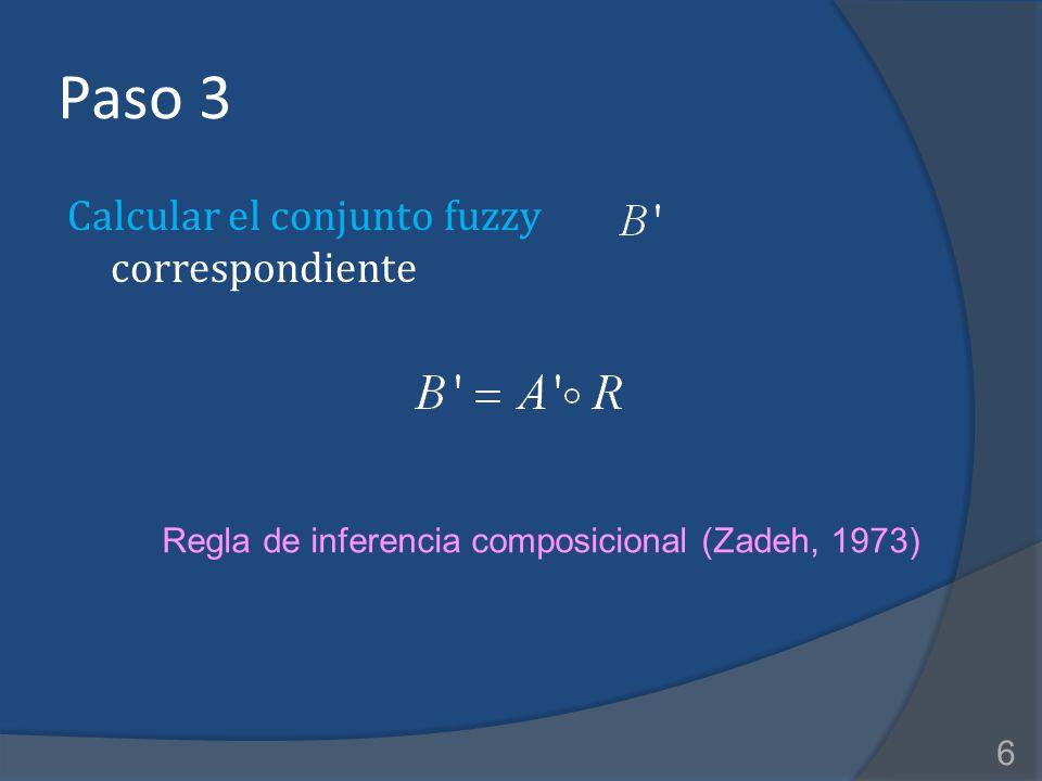 Paso 3 Calcular el conjunto fuzzy correspondiente