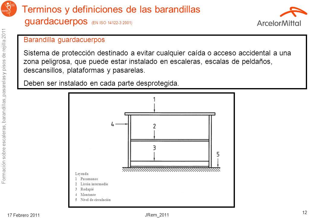 Terminos y definiciones de las barandillas guardacuerpos (EN ISO 14122-3:2001)