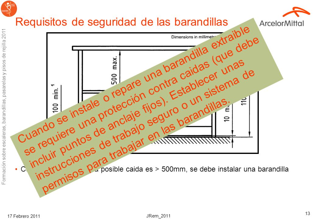 Requisitos de seguridad de las barandillas