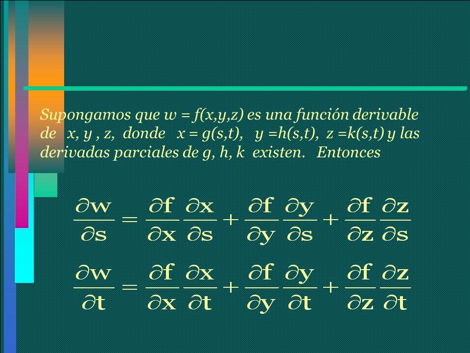 Supongamos que w = f(x,y,z) es una función derivable de x, y , z, donde x = g(s,t), y =h(s,t), z =k(s,t) y las derivadas parciales de g, h, k existen.