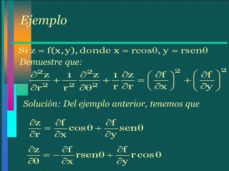 Ejemplo Demuestre que: Solución: Del ejemplo anterior, tenemos que
