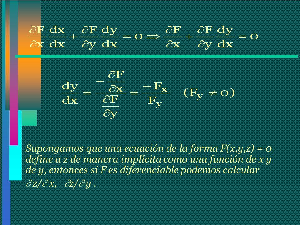 Supongamos que una ecuación de la forma F(x,y,z) = 0 define a z de manera implícita como una función de x y de y, entonces si F es diferenciable podemos calcular