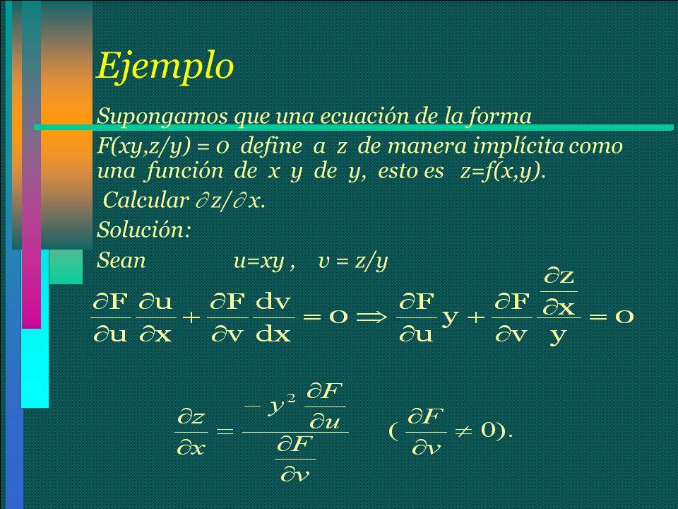 Ejemplo Supongamos que una ecuación de la forma