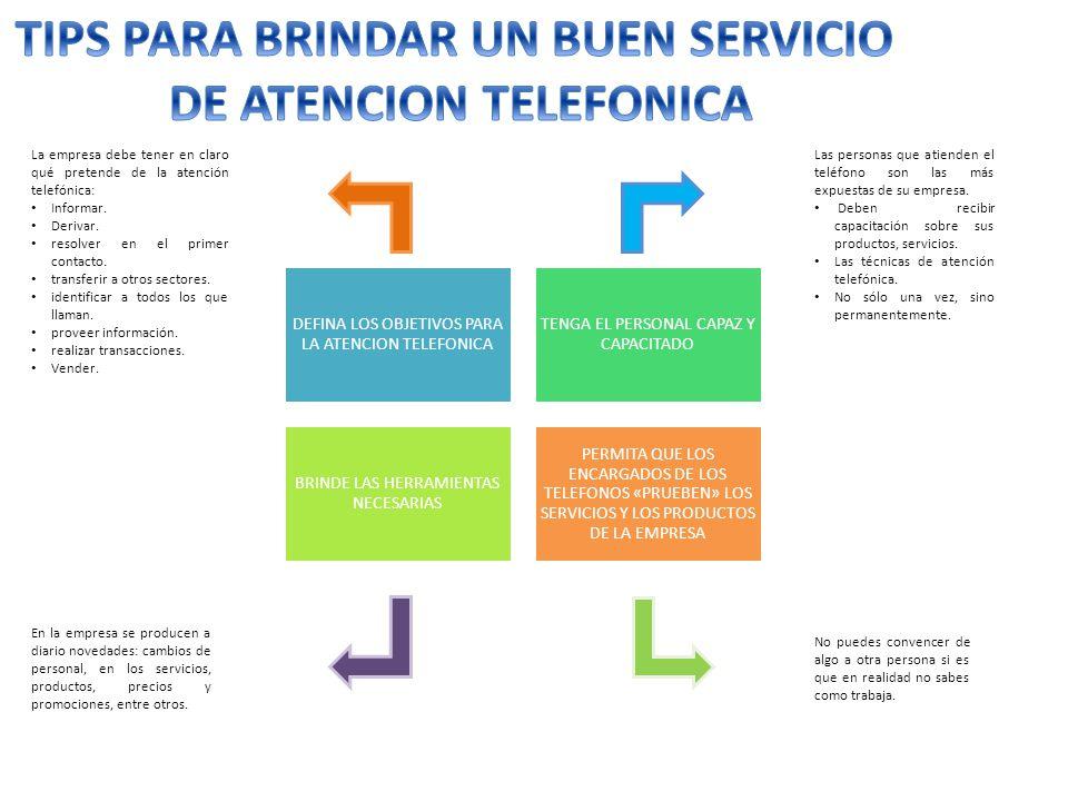 TIPS PARA BRINDAR UN BUEN SERVICIO DE ATENCION TELEFONICA