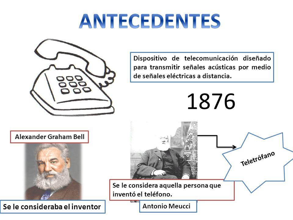 1876 ANTECEDENTES Se le consideraba el inventor